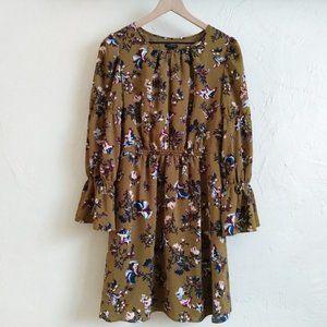 Lovely Ann Taylor Olive Green Floral Dress
